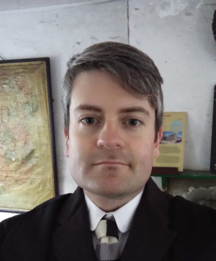 Jonathan as headmaster in the Ulster Folk and Transport Museum